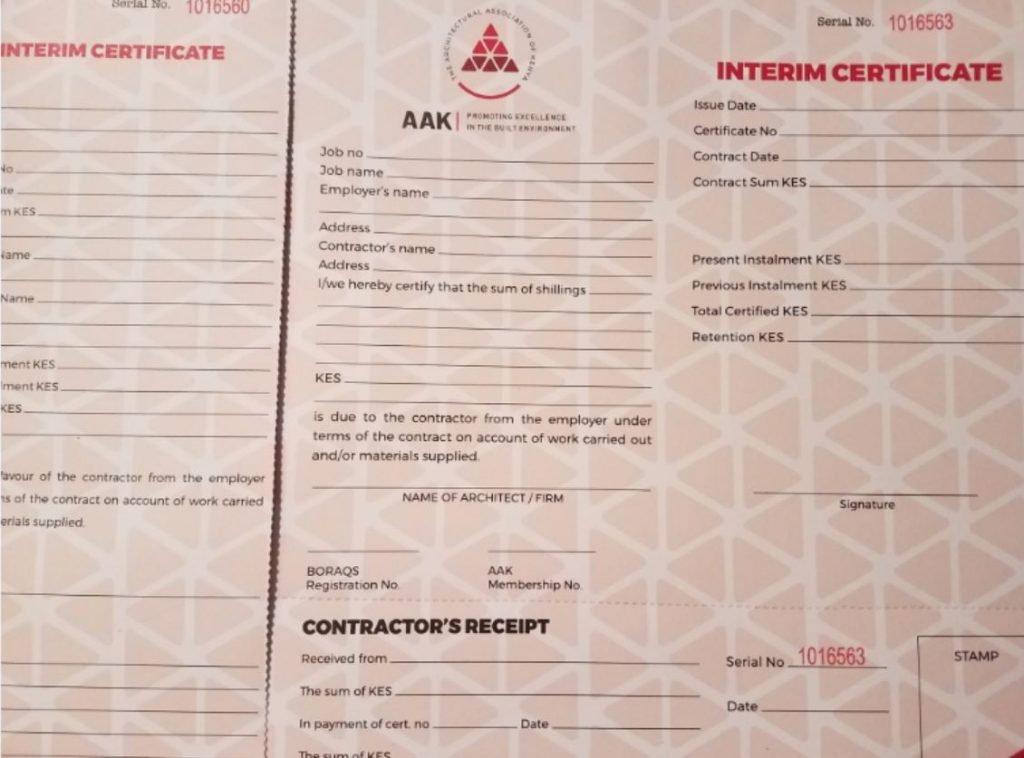 interim construction payment certificate in kenya